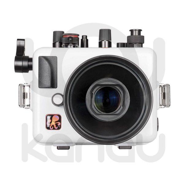 La carcasa Ikelite específica para cámara Canon G1X Mark II está fabricada en ABS gris en la parte delantera y policarbonato de alta-resistencia en la parte trasera. Los mandos son de acero inoxidable, tenemos control total de los mandos de la cámara.
