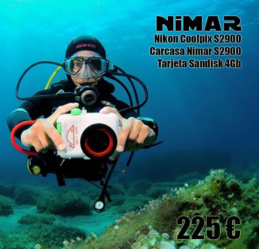 Pack Nikon Coolpix S2900 con carcasa submarina Nimar y tarjeta Sandisk 4Gb