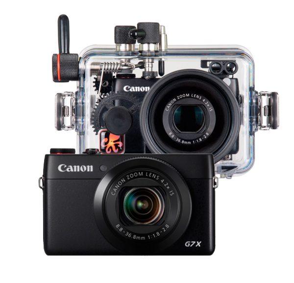 Conjunto Canon G7x y carcasa submarina Ikelite