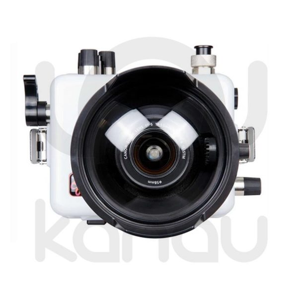 La carcasa Ikelite específica para la cámara Canon EOS 200D, está fabricada en ABS gris en la parte delantera y policarbonato de alta-resistencia en la parte trasera. Los mandos son de acero inoxidable, tenemos control total de los mandos de la cámara.