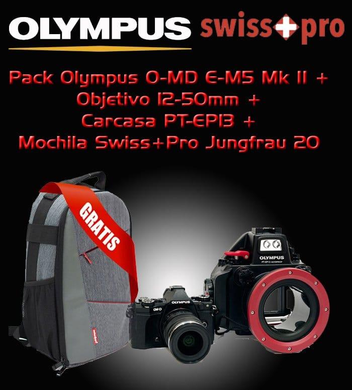 Pack Olympus M5 + Zuiko 12-50mm + Carcasa PT-EP13 + Swiss+Pro Jungfrau 20