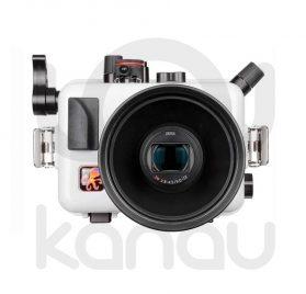 La carcasa Ikelite específica para las cámaras Sony RX100 Mark VI y MarK VII, está fabricada en ABS gris en la parte delantera y policarbonato de alta-resistencia en la parte trasera. Los mandos son de acero inoxidable, tenemos control total de los mandos de la cámara.