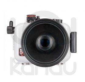 La carcasa Ikelite específica para cámara Canon Powershot SX620 HS está fabricada en ABS gris en la parte delantera y policarbonato de alta-resistencia en la parte trasera. Los mandos son de acero inoxidable, tenemos control total de los mandos de la cámara.