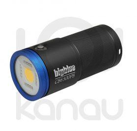 Foco para foto y video submarino de 6500 lumen con luz azul incorporada para fluorescencias