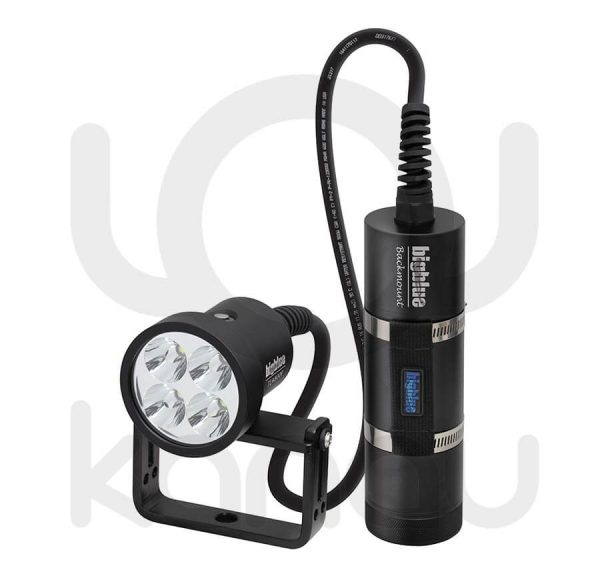 Foco para iluminación submarina BIGBLUE TL4800P Backmount con batería de larga duración en canister