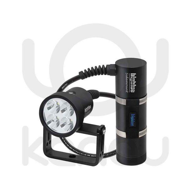 Foco para iluminación submarina de 4800 lumen con batería de larga duración en canister