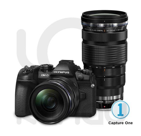 Pack doble compuesto por cámara Olympus O-MD E-M1 Mark II y objetivos Olympus M.Zuiko 12-40mm 1:2.8 PRO y Olympus M.Zuiko 40-150mm 1:2.8 PRO+CAPTURE ONE