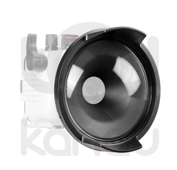 La cúpula Ikelite DC1 sustituye el frontal plano de las carcasas Ikelite para TG, consiguiendo así la cobertura original del 25mm de la cámara, facilitando además la toma de fotografía a dos ambientes (aire – agua)