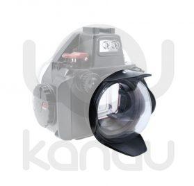 """Frontal cúpula de 4"""" con cuerpo fabricado en Aluminio anodizado y cúpula de cristal óptico para carcasas Olympus PEN y carcasas Olympus OM-D con embocadura PEN."""