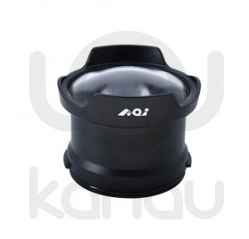"""AOI DLP-10. Frontal de compuesto de cuerpo de resistente aluminio anodizado y cúpula de 4"""" de acrílico de grado óptico para carcasas Olympus OM-D."""