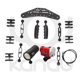 Conjunto de iluminación para llevar el foco BigBlue CB6500P y el flash Olympus UFL-3
